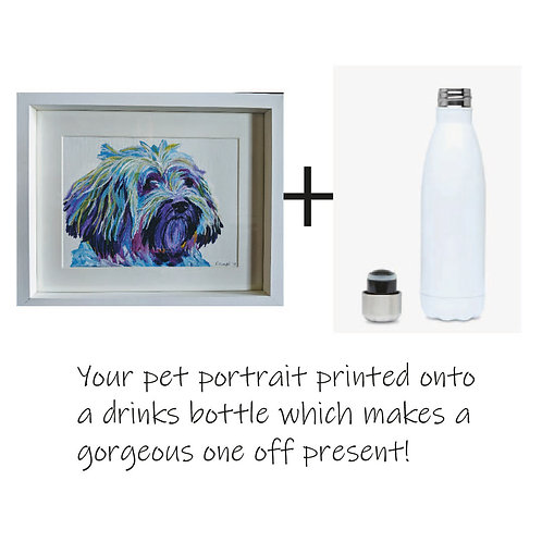 Painted Pet Portrait - Colourful and printed 500ml drinks bottle