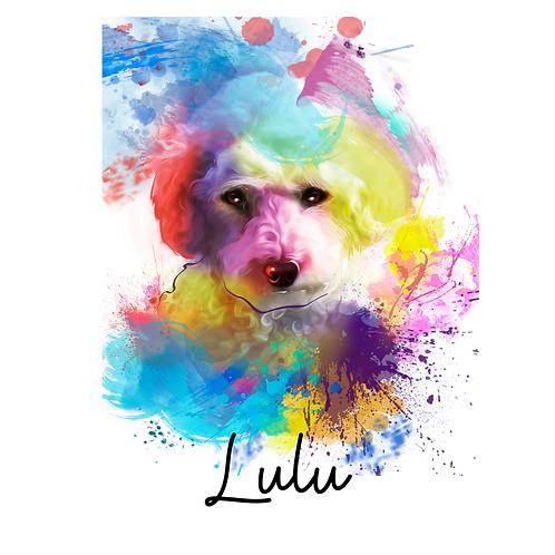 Pet Portrait  Watercolour Brights style - personalise!