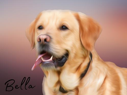 Pet Portrait  Digital Oil painting style - personalise