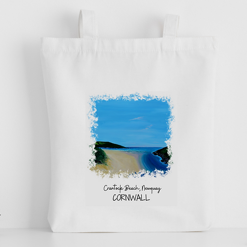 Luxury canvas tote bag, Crantock Beach, Newquay, handprinted in Cornwall
