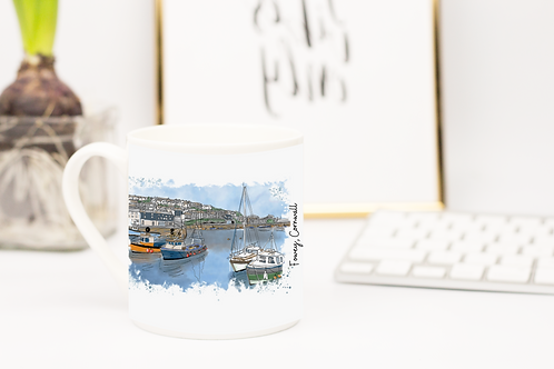 Art of Cornwall, Bone china mug,  Fowey (foweyscape) Cornwall