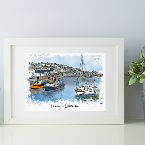 Fowey, Cornwall art print (foweyscape)