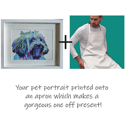 Painted Pet Portrait - Colourful and printed on an apron