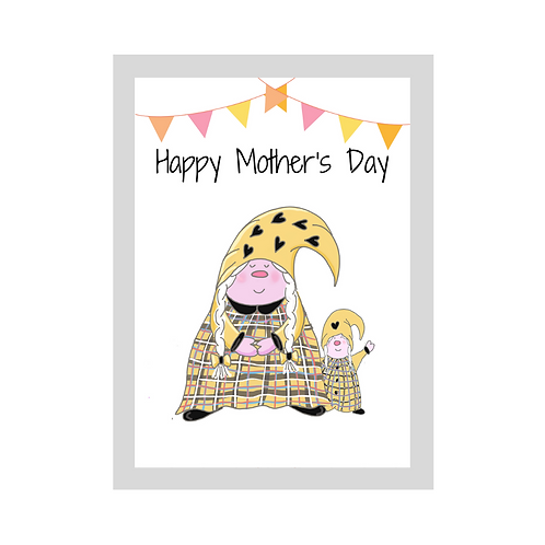 The Cornish Gnome - Mothers day Card -Toddler Girl