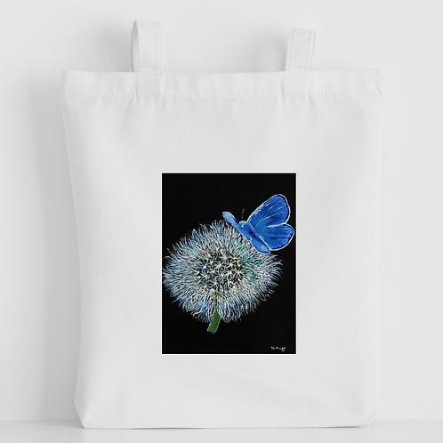 Luxury canvas tote bag, Butterfly Dandelion, handprinted in Cornwall