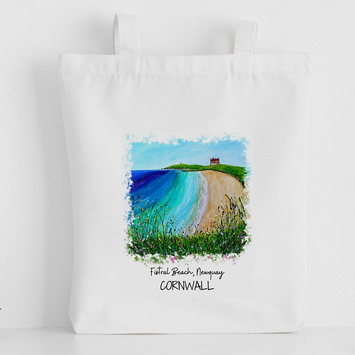 Luxury canvas tote bag, Fistral Beach, Newquay, handprinted in Cornwall