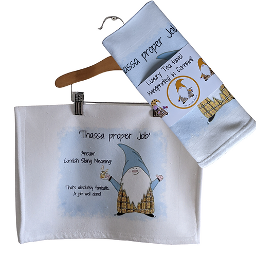 The Cornish Gnome Teatowels - Proper Job - Luxury handprinted teatowel