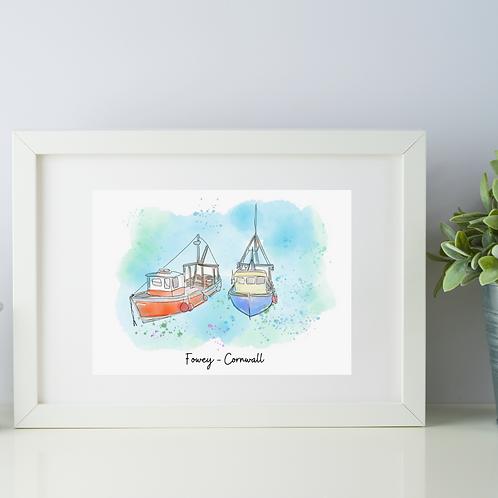 Fowey, Cornwall art print (two boats)