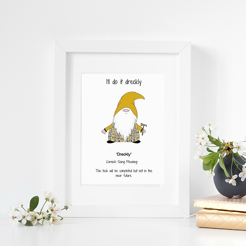 Cornish Gnome 'Dreckly' print mounted and framed options