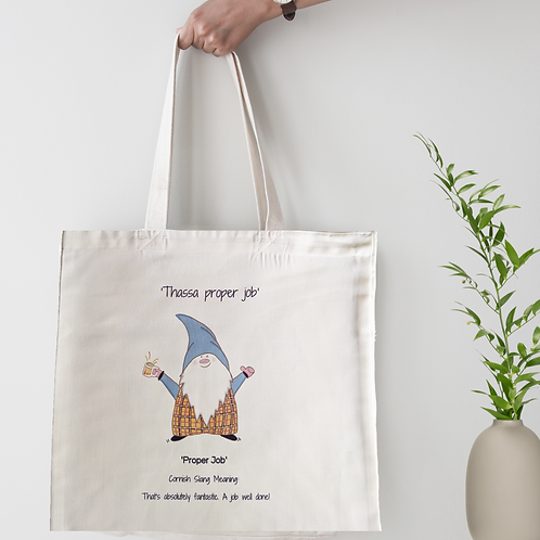Cornish Gnome 'Proper Job' Tote Bag - personalise option
