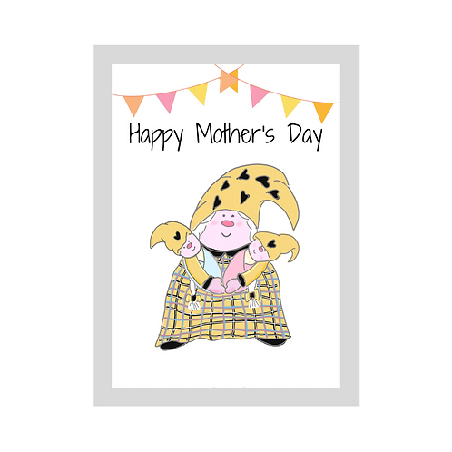 The Cornish Gnome - Mothers day Card - Mixed Twins