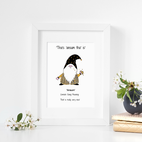 Cornish Gnome 'Ansum' print, mounted or framed