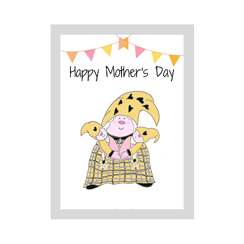 The Cornish Gnome - Mothers day Card - Girl Twins