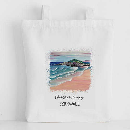Luxury canvas tote bag, Fistral Beach, Newquay, handprinted in C