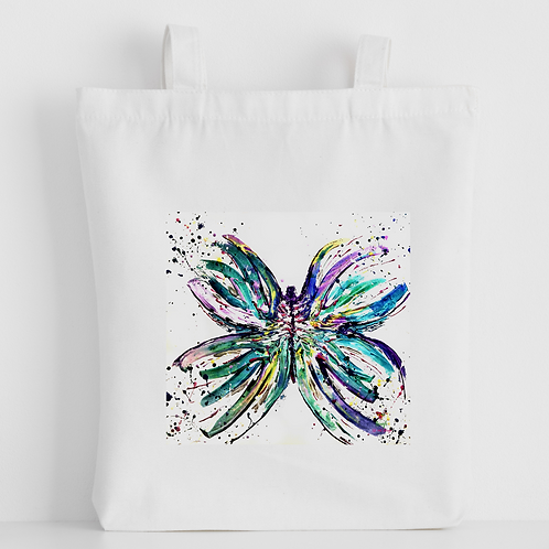 Luxury canvas tote bag, Butterfly Bright, handprinted in Cornwall
