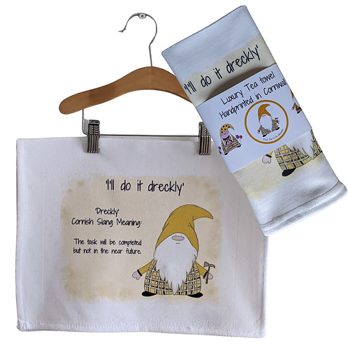 The Cornish Gnome Teatowels - Dreckly - Luxury handprinted teatowel