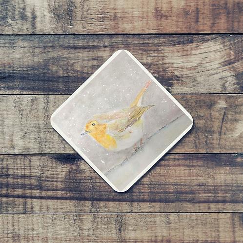 Animal Aura - Coaster - Robin in the snow