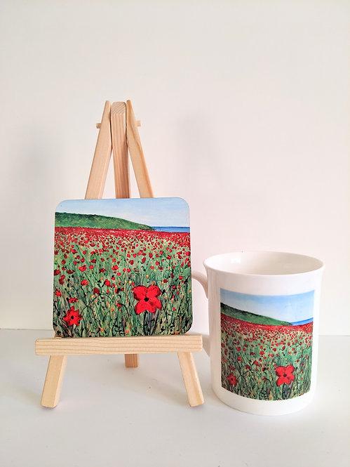 Polly Joke poppies Mug and Coaster set