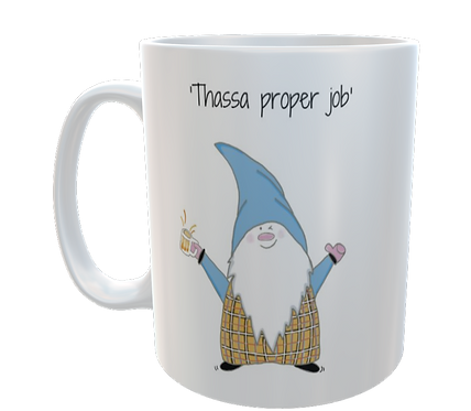 Cornish Gnome Mug - Proper Job - ceramic and handprinted, personalise option