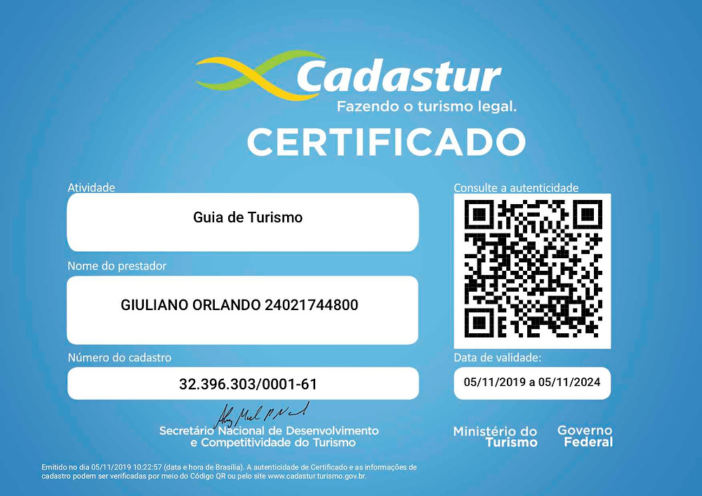 blue certification with qrcode and informations about the tour guide