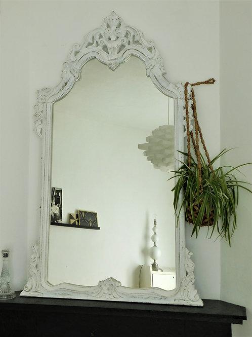 Grand miroir blanc vintage shabby