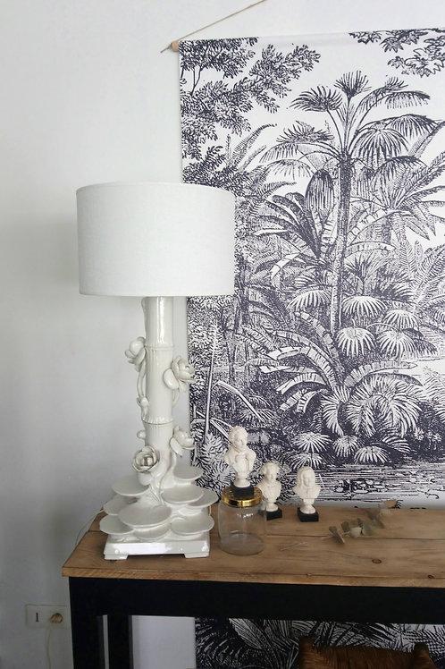 grande lampe art déco en céramique émaillée blanche antiquité brocante en ligne
