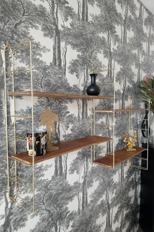 étagère vintage string bois et doré