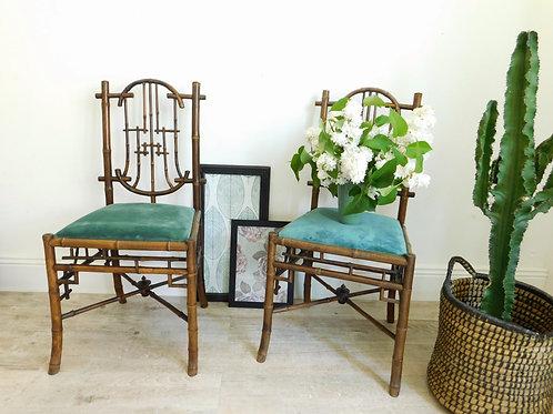 2 chaises en bambou époque XIXe rares