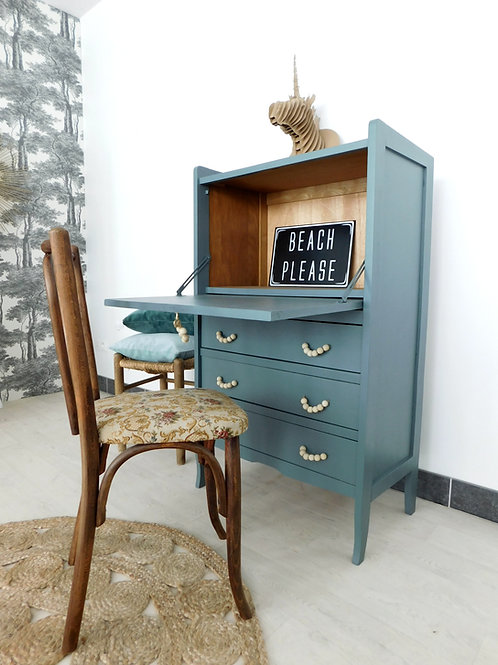 Secrétaire vintage bleu vert grisé