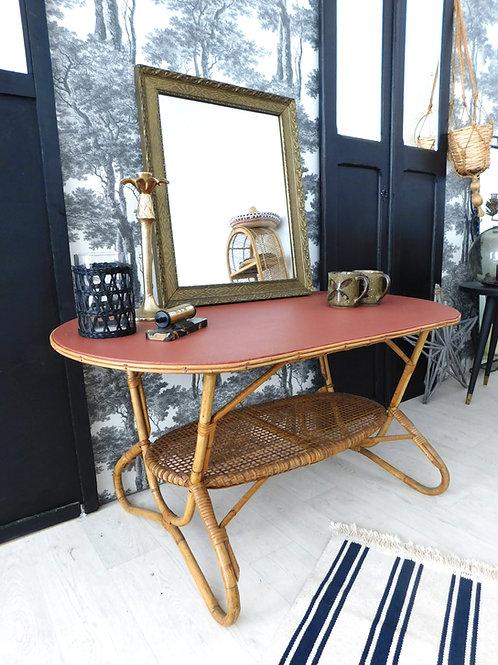 Table basse en rotin terracotta