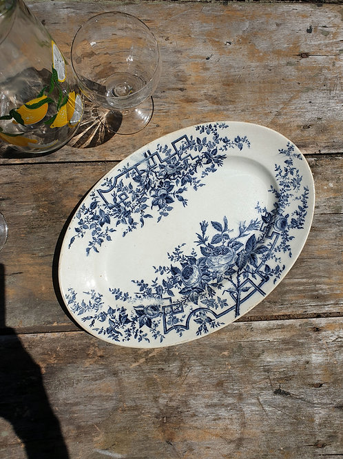 "plat terre de fer vintage bleu ""roses"""