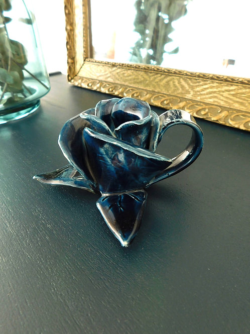 Bougeoir vintage céramique rose bleue