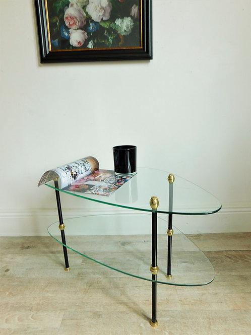 Bout de canapé / table basse tripode en verre, 2 étages
