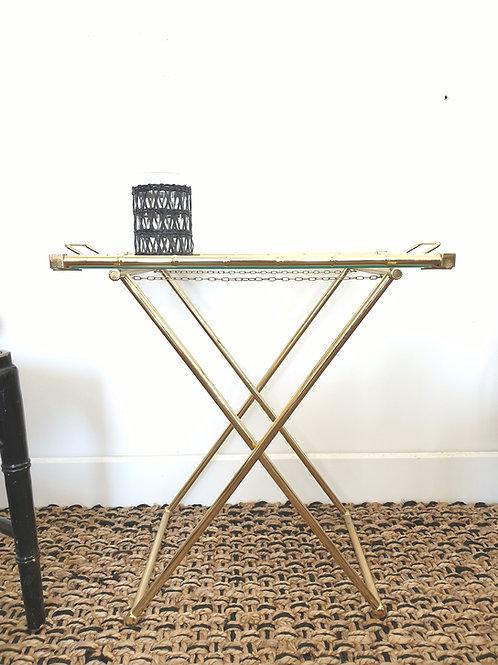 Table plateau pliante façon bambou