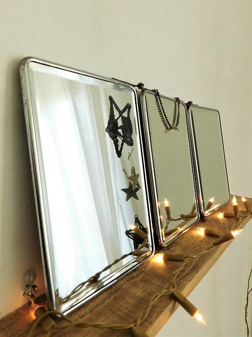 Miroir triptyque de barbier vintage