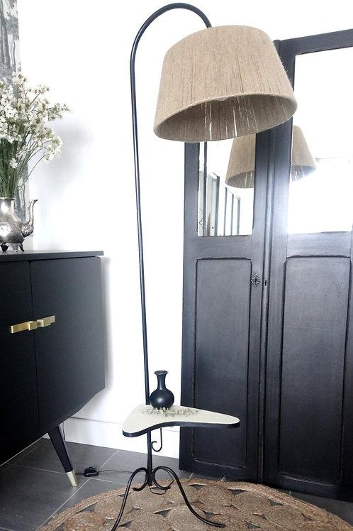 Lampadaire vintage, abat-jour en corde