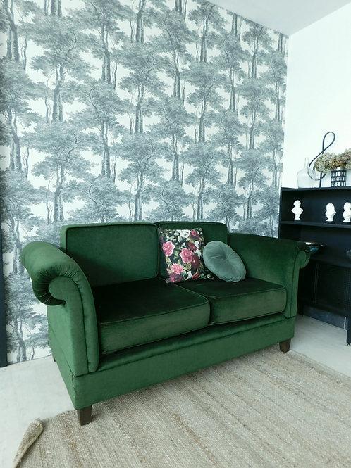 banquette sofa canapé vintage velours vert