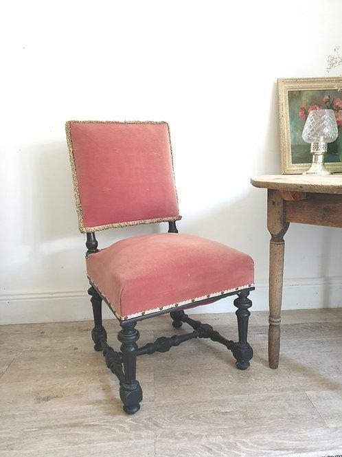 Chaise Napoléon III vieux velours rose