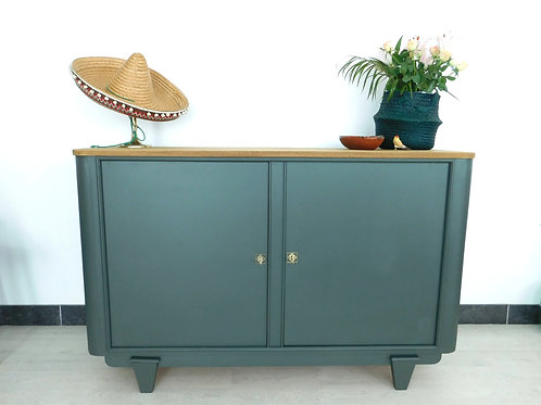 Buffet 2 portes vintage Art Déco vert végétal