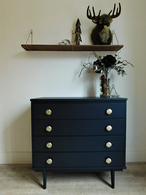 """Commode """"night blue"""" finitions art déco"""