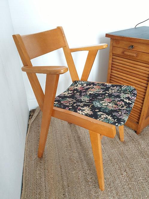 fauteuil chaise de bureau vintage à fleurs