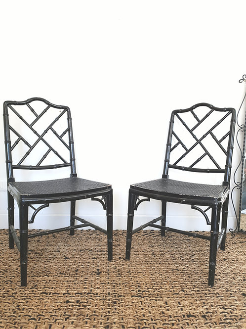 2 Chaises chinoises cannage noir