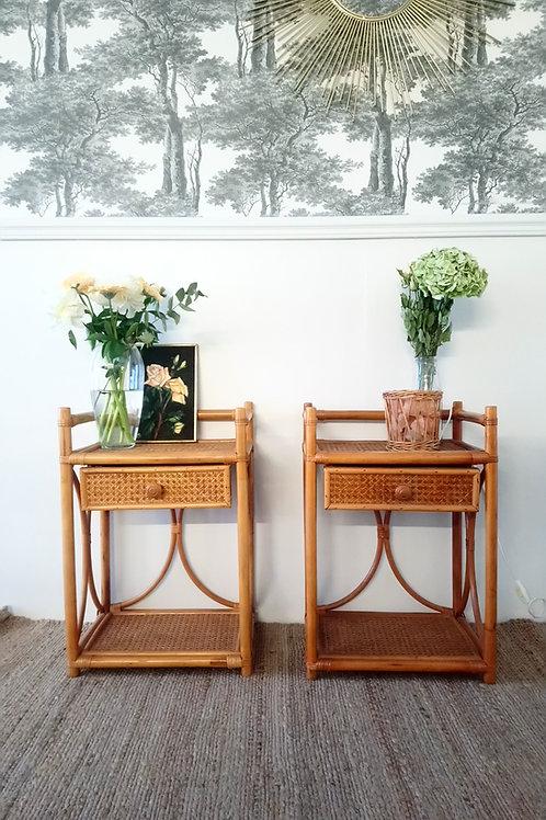 2 chevets vintage en bambou et cannage