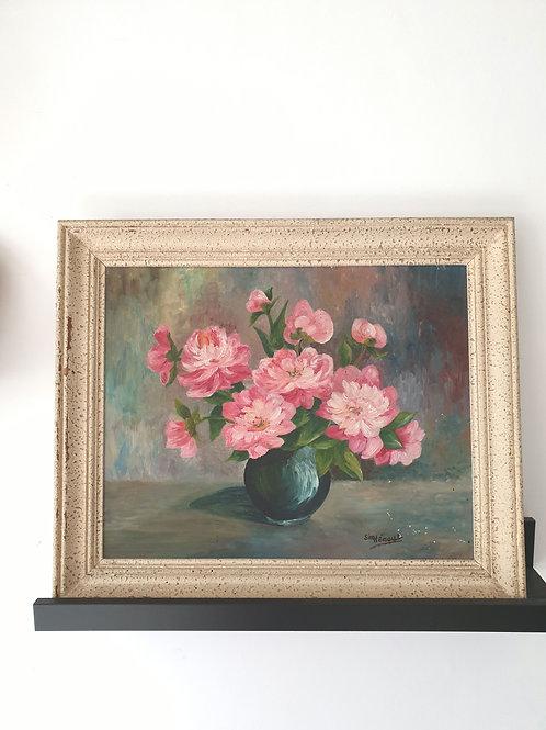 Peinture à l'huile signée bouquet de pivoines