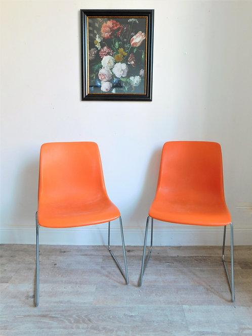 Ensemble de deux chaises traineaux orange Grosfilex vintage