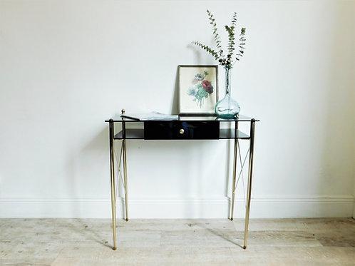 Bureau / console vintage chic en verre noir
