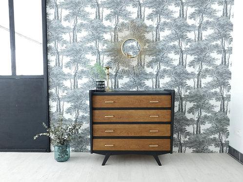 Commode vintage noir camouflage et chêne ciré