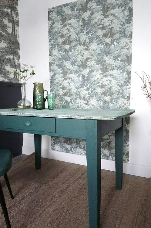 Ancienne table tons bleus verts