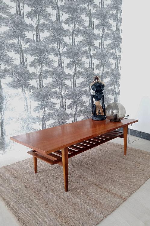 Grande table basse scandinave en teck vintage
