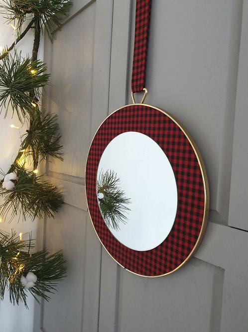 Miroir vintage vichy rouge et noir